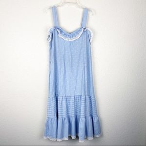 VINTAGE Blue Floral Prairie Dress